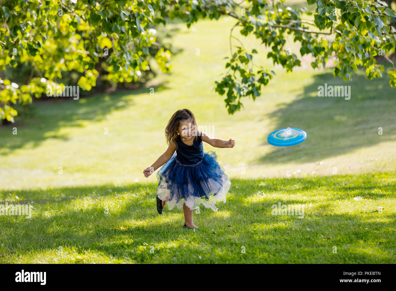 A young girl in a party dress chasing a disc toy that was thrown to her in a park on warm fall afternoon during a family outing - Stock Image