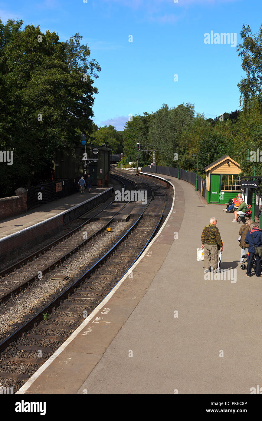 Curved approach to Pickering Station on the North Yorkshire Moors Railway Stock Photo