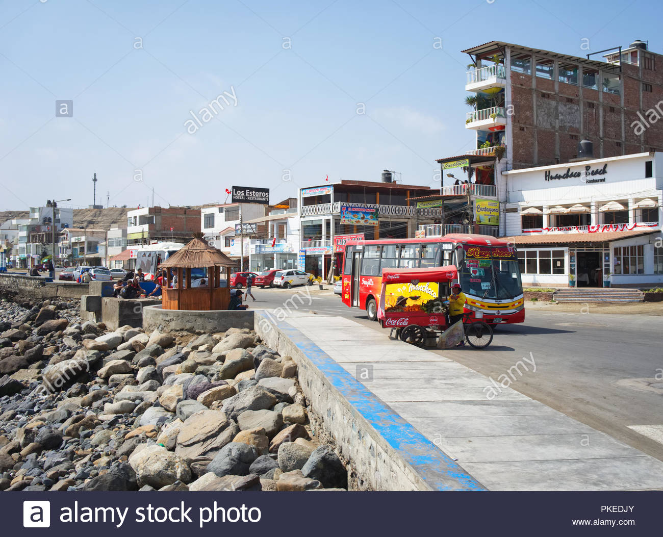 main street in Huanchaco with Street sells and bus to Trujillo Peru - Stock Image