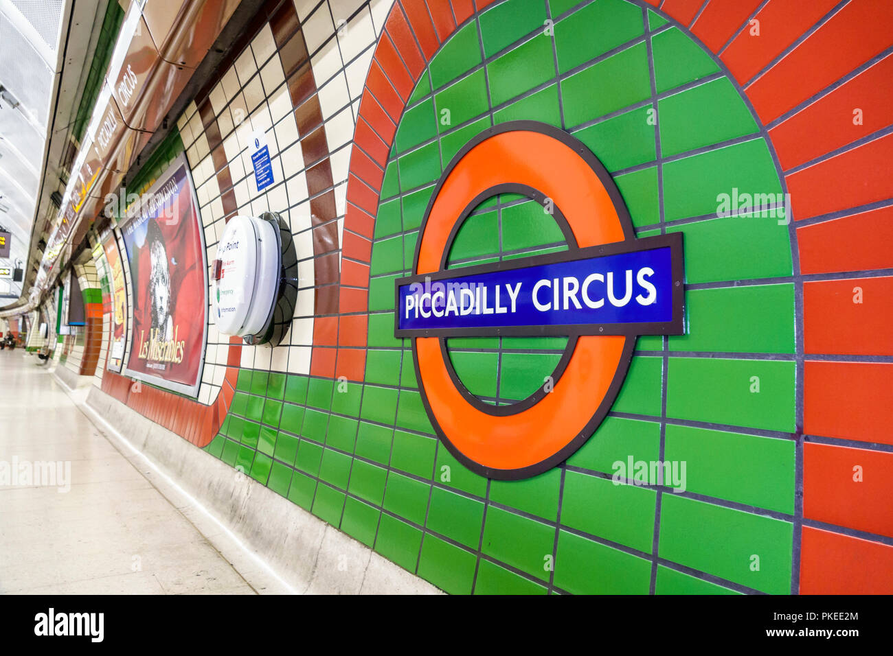 London England Great Britain United Kingdom Underground Tube public transportation system rapid transit Picadilly Circus Line station platform subway - Stock Image