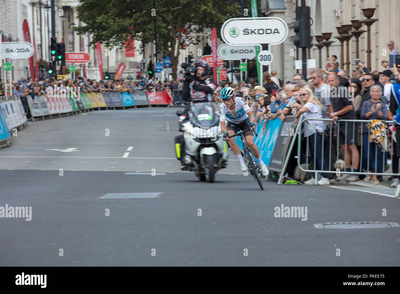 Tour of Britain 2018. The time trial specialist Vasil Kiryenka of Team Sky leads the peloton by half a minute until 14 km from the end of the race. - Stock Image