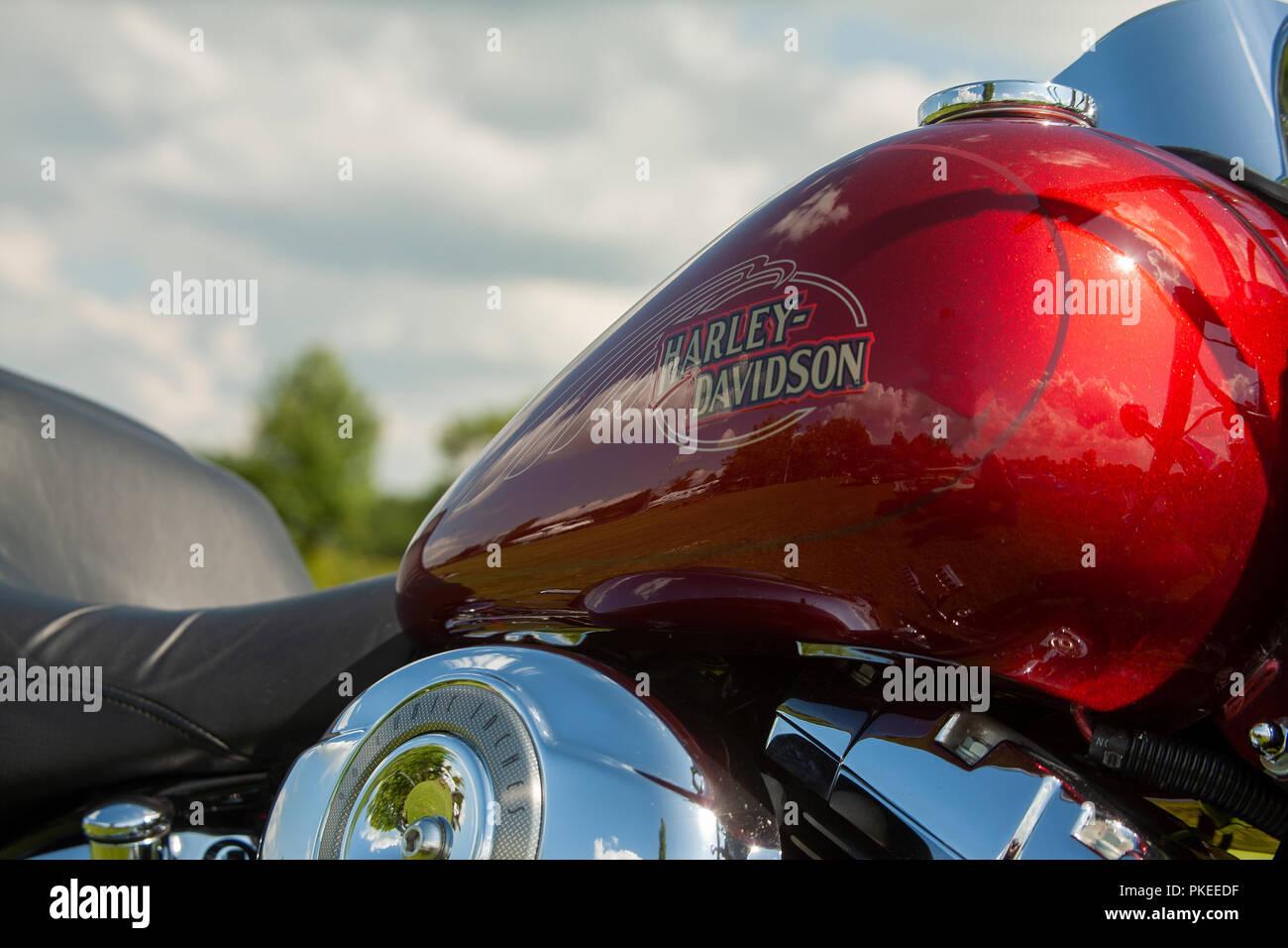 Closeup of Gleaming Red Harley-Davidson Sportster motorbike fuel tank - Stock Image