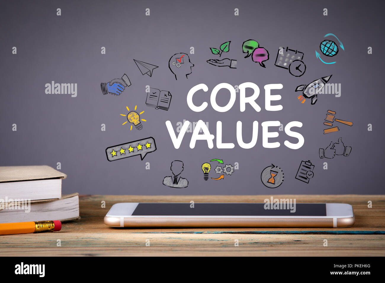 Core Values, Business and Technology concept - Stock Image