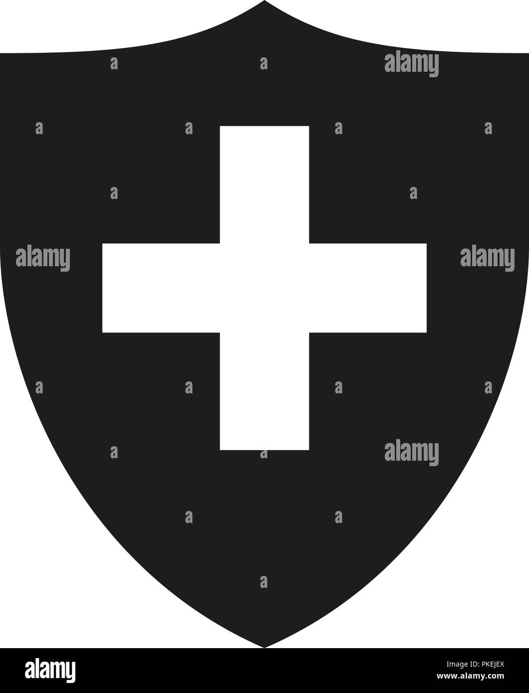 Black white shield with cross silhouette - Stock Vector