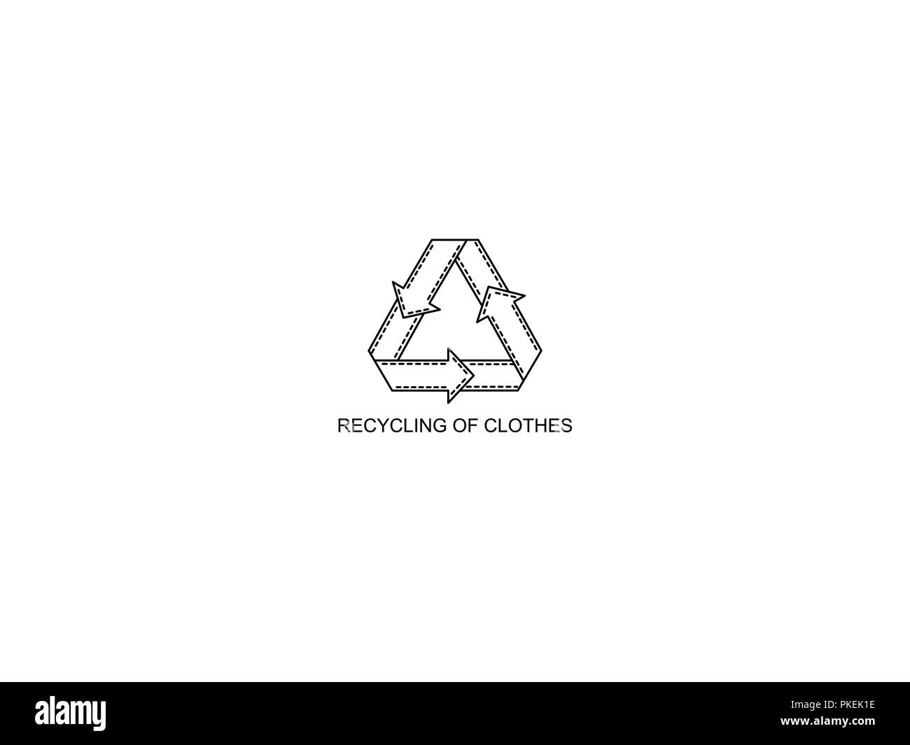 recycling of clothes Monochrome icon. Secondary processing of clothing. - Stock Image