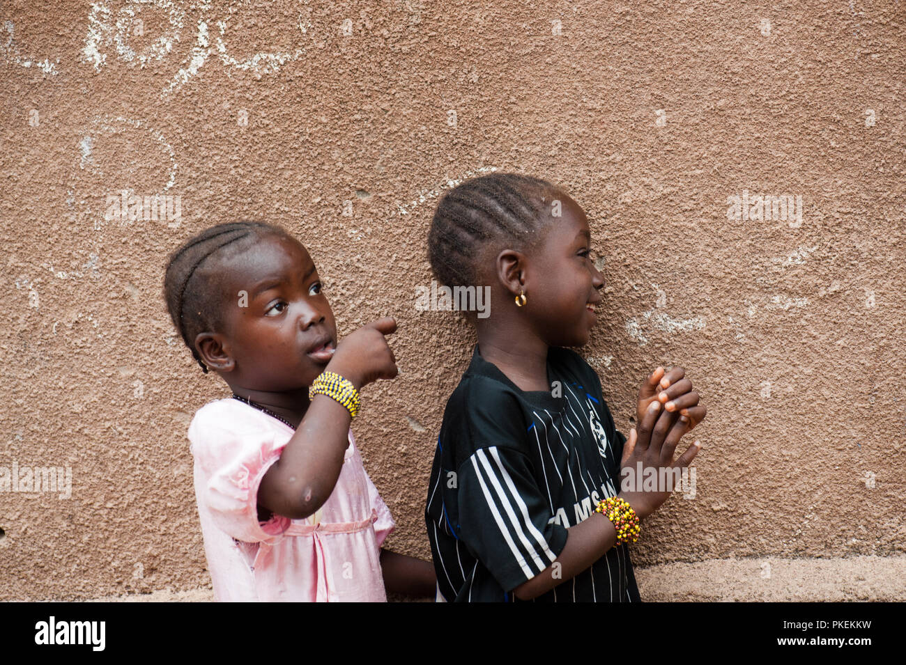 Mali Africa Circa August 2009 Two Black African Sisters Having Fun Living In A Rural Area Near Bamako Stock Photo Alamy