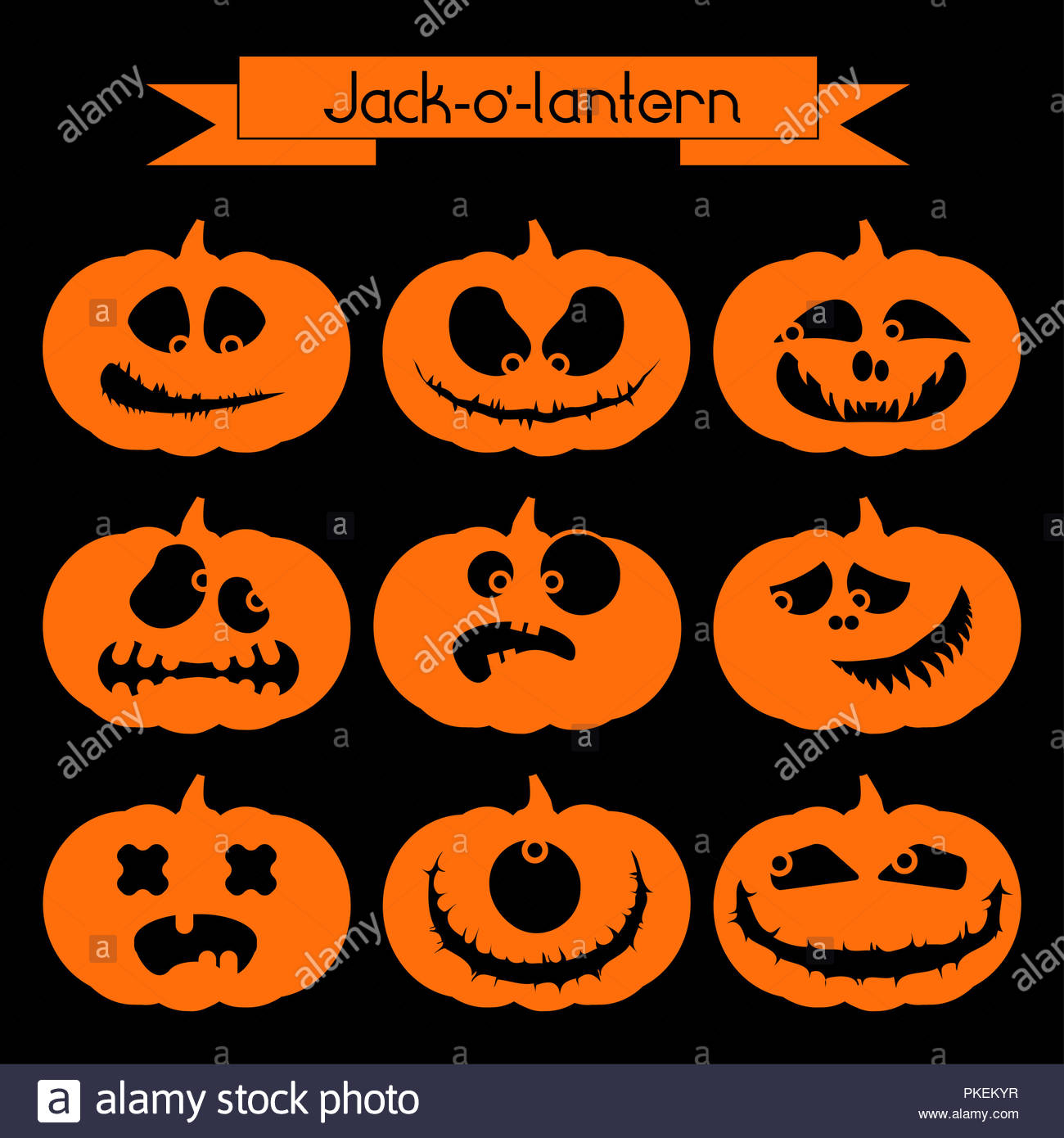 halloween pumpkin with scary faces stock photo: 218525883 - alamy