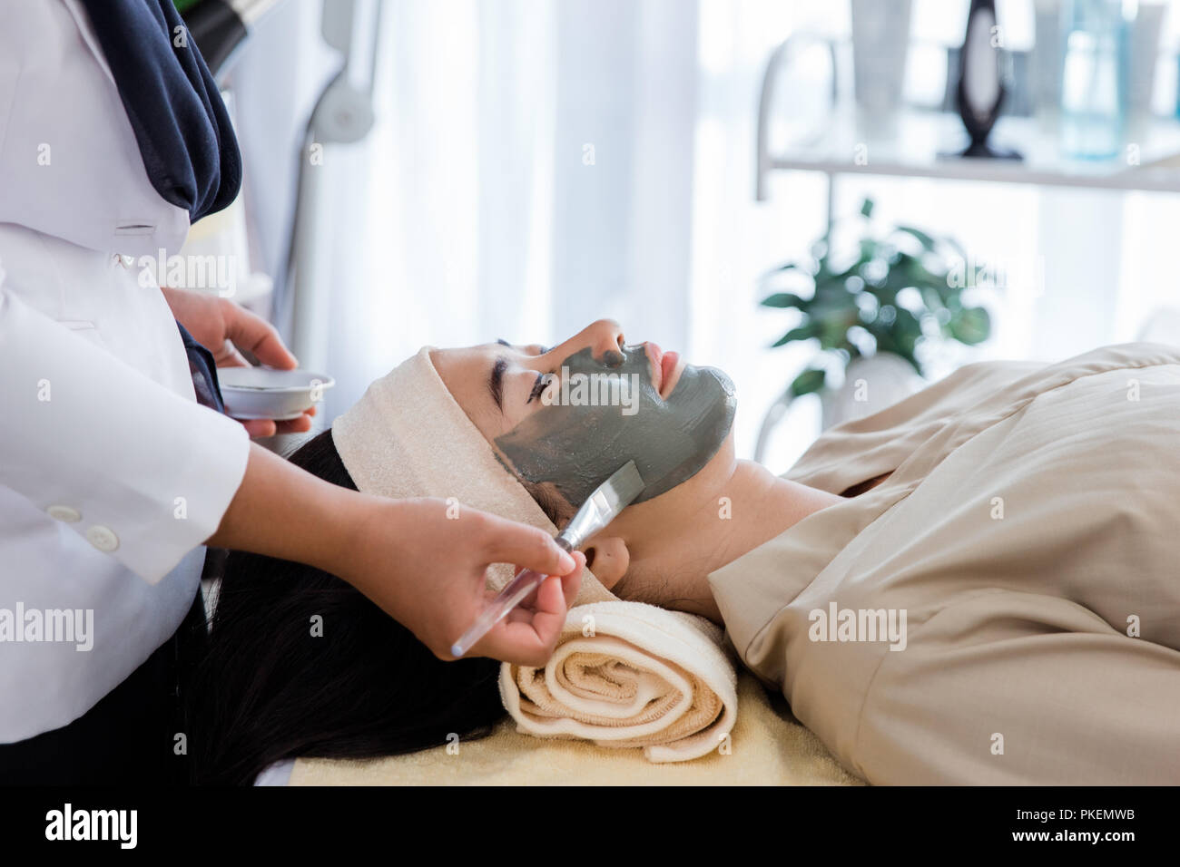 Picture of beautician doing facial mask - Stock Image
