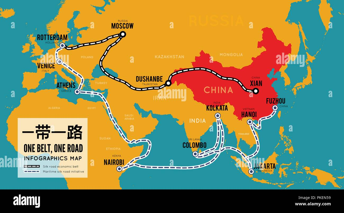 One belt one road. New Chinese trade silk road. Vector map infographics - Stock Vector