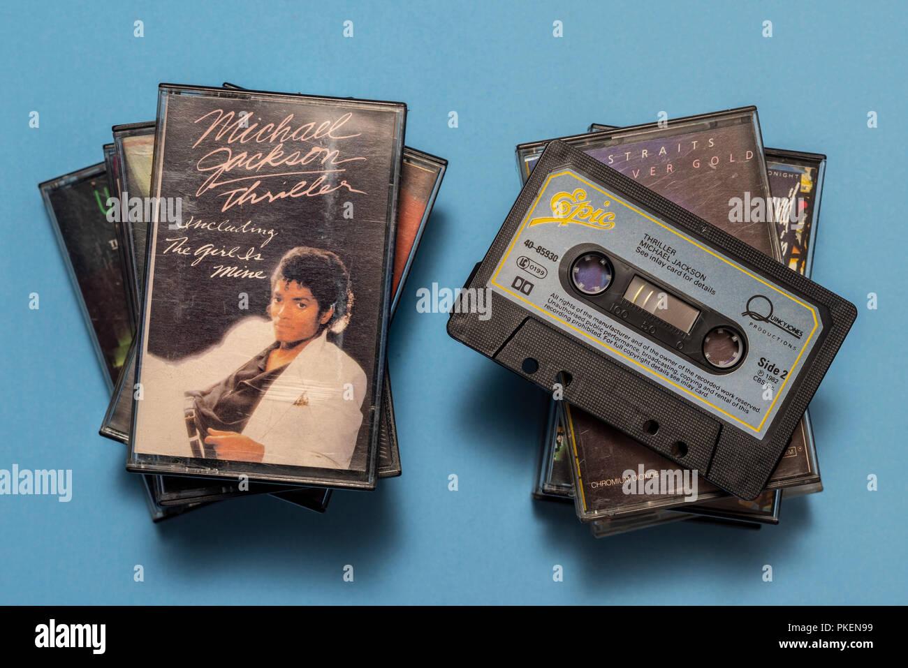 compact audio cassette of Michael Jackson, Thriller album with art work. - Stock Image