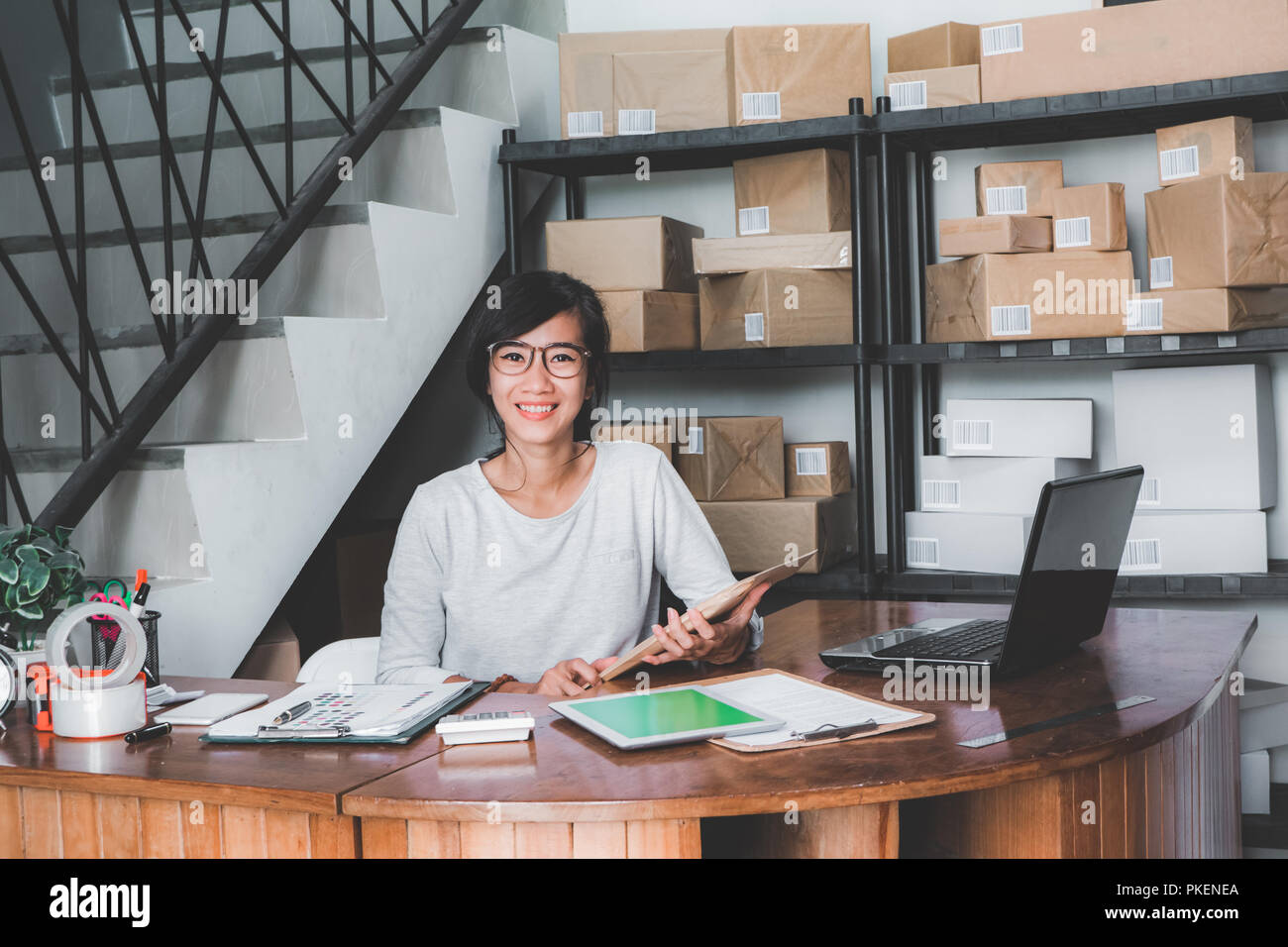 package delivery service office - Stock Image