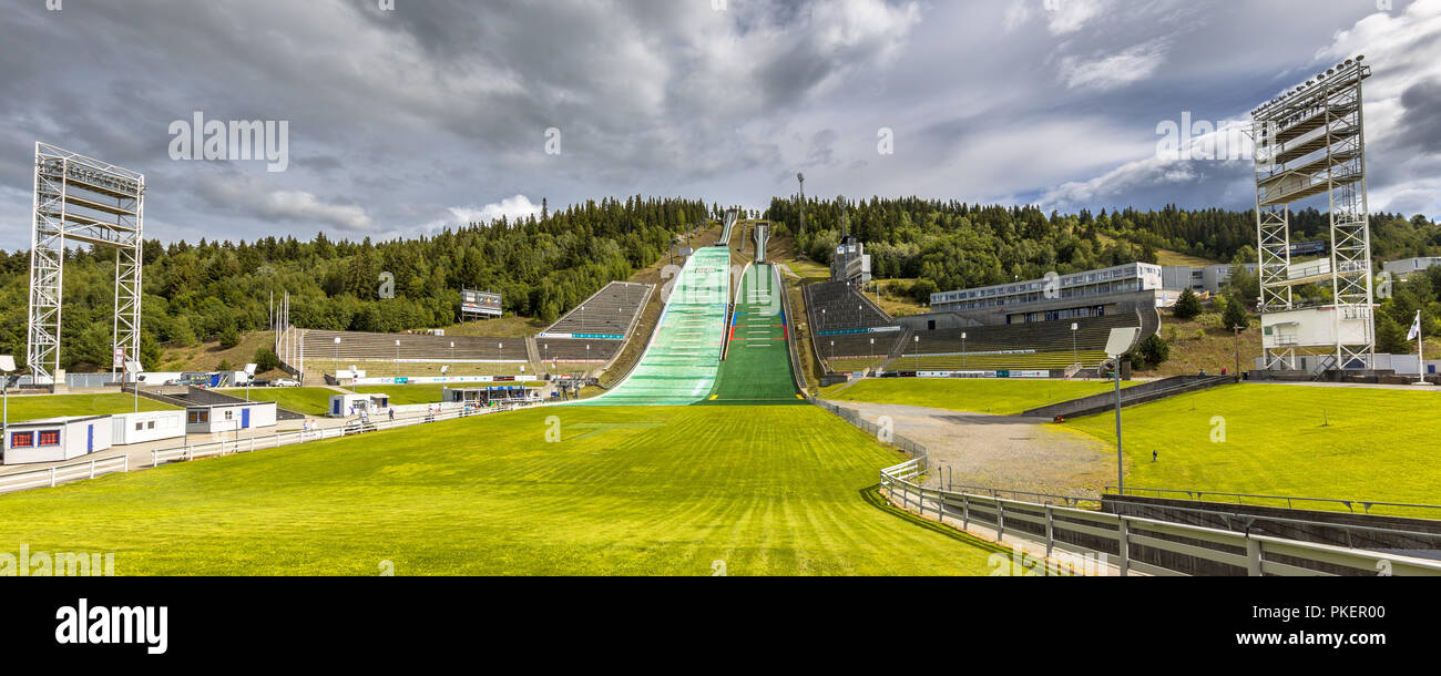 LILLEHAMMER, NORWAY - AUGUST 2, 2016: Ski jump stadium near Oslo, known as Lysgardsbakken, opened in 1993, specifically to the XVII Olympic Winter Gam - Stock Image