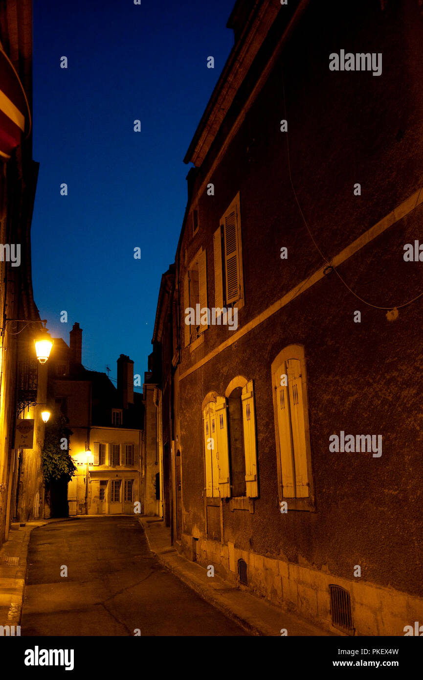 Night impression of Avallon, in the Yonne department (France, 24/06/2010) - Stock Image
