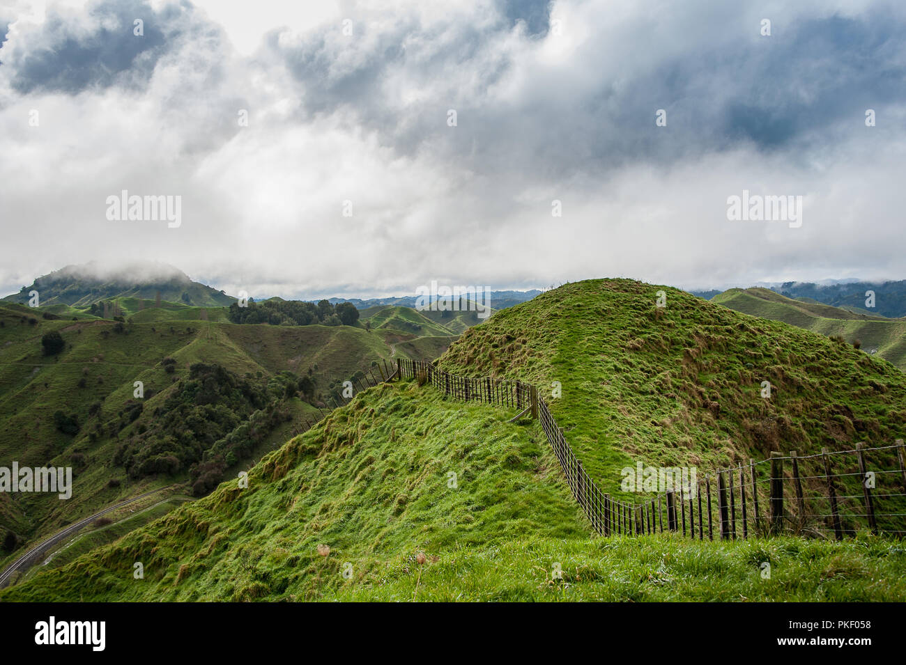 The Tahora Saddle, part of The Forgotten World Highway, North Island, New Zealand. Pastoral landscape with green rolling hills and grey cloudy skies. Stock Photo
