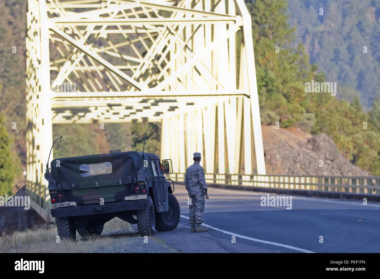 An Airmen With The Oregon National Guard Stands Watch At A Traffic