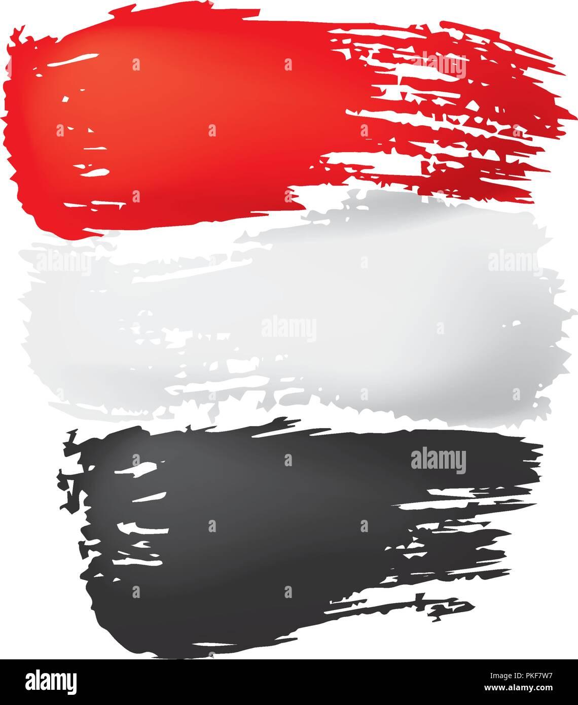 Yemeni flag, vector illustration on a white background - Stock Image