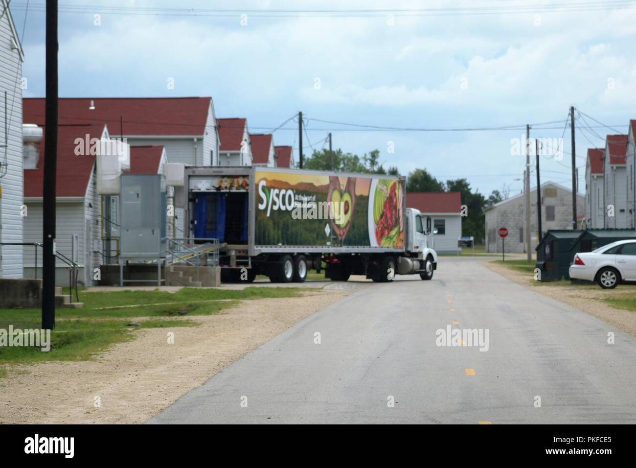 A truck with food supplier Sysco Foods of Baraboo, Wis , is