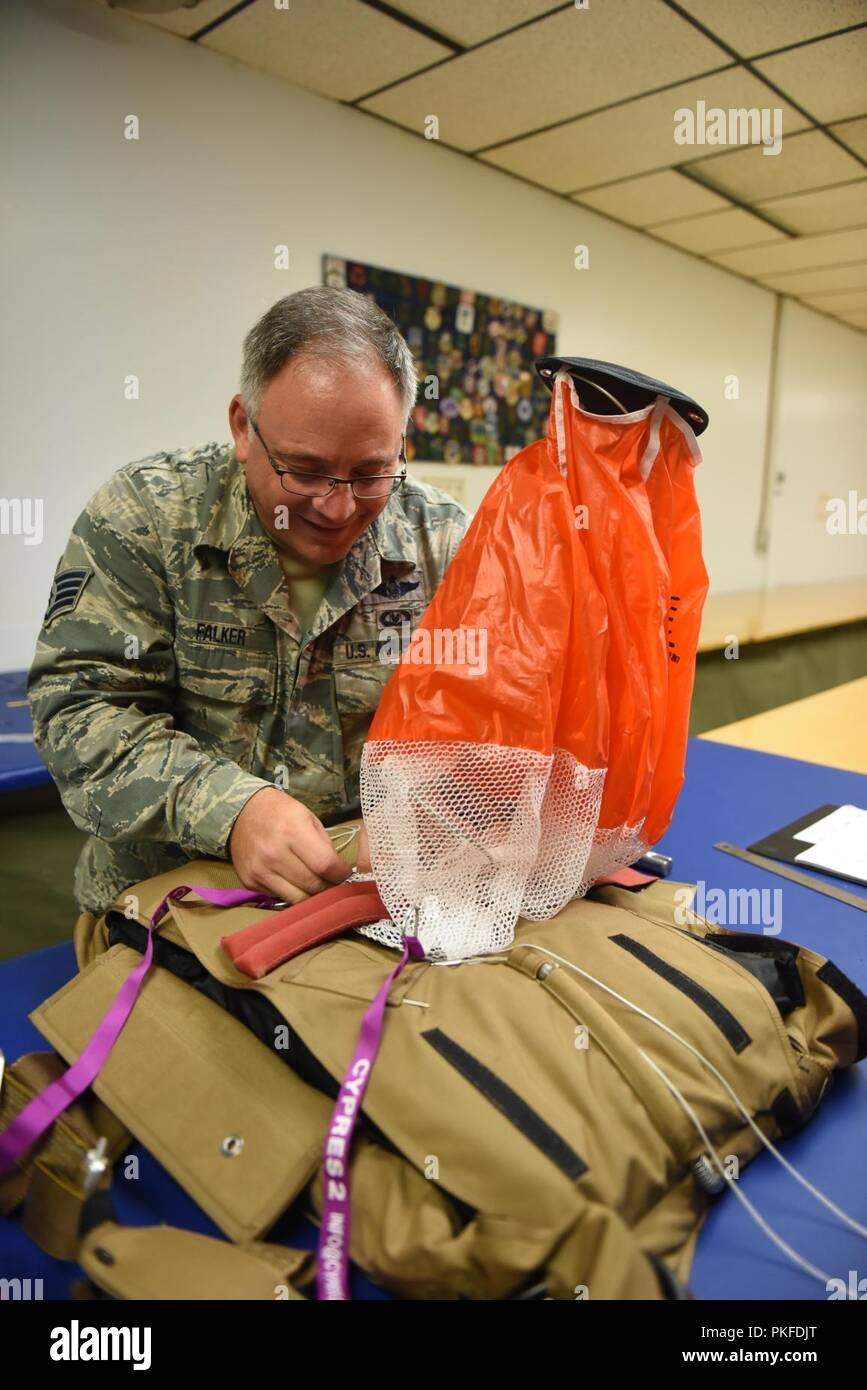 Staff Sgt  Stephen Falker, an aircrew flight equipment