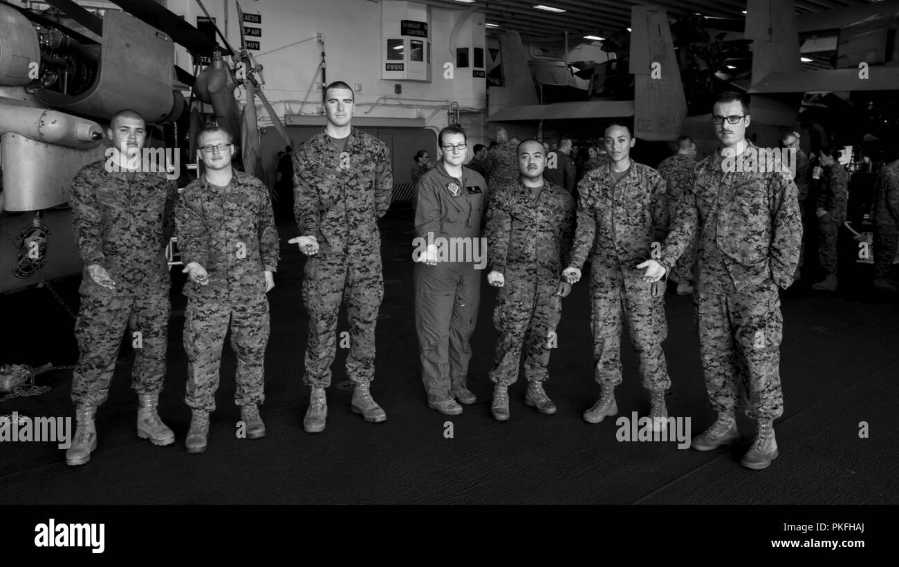PACIFIC OCEAN – U S  Marines and Navy Sailors from the 13th