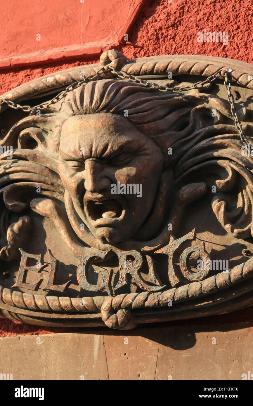 """El Grito de Dolores"" Mexican Wall Metal Decoration on a Sunny day - Stock Image"