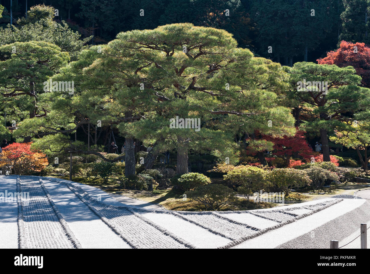 Kyoto, Japan. The kare-sansui (dry landscape) garden of raked gravel called Ginshadan, at Ginkaku-ji zen temple (the Silver Pavilion) - Stock Image