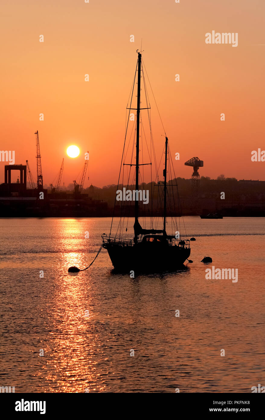 Sunrise over Devonport dockyard, Plymouth, Devon Stock Photo