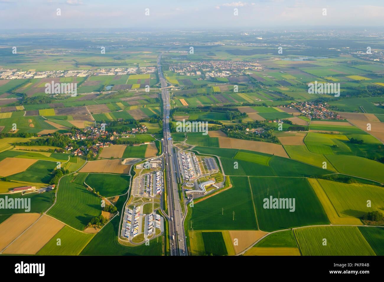 Rest stop Fürholzen on motorway A9, Neufahrn near Freising, behind Munich, aerial view, Upper Bavaria, Bavaria, Germany Stock Photo