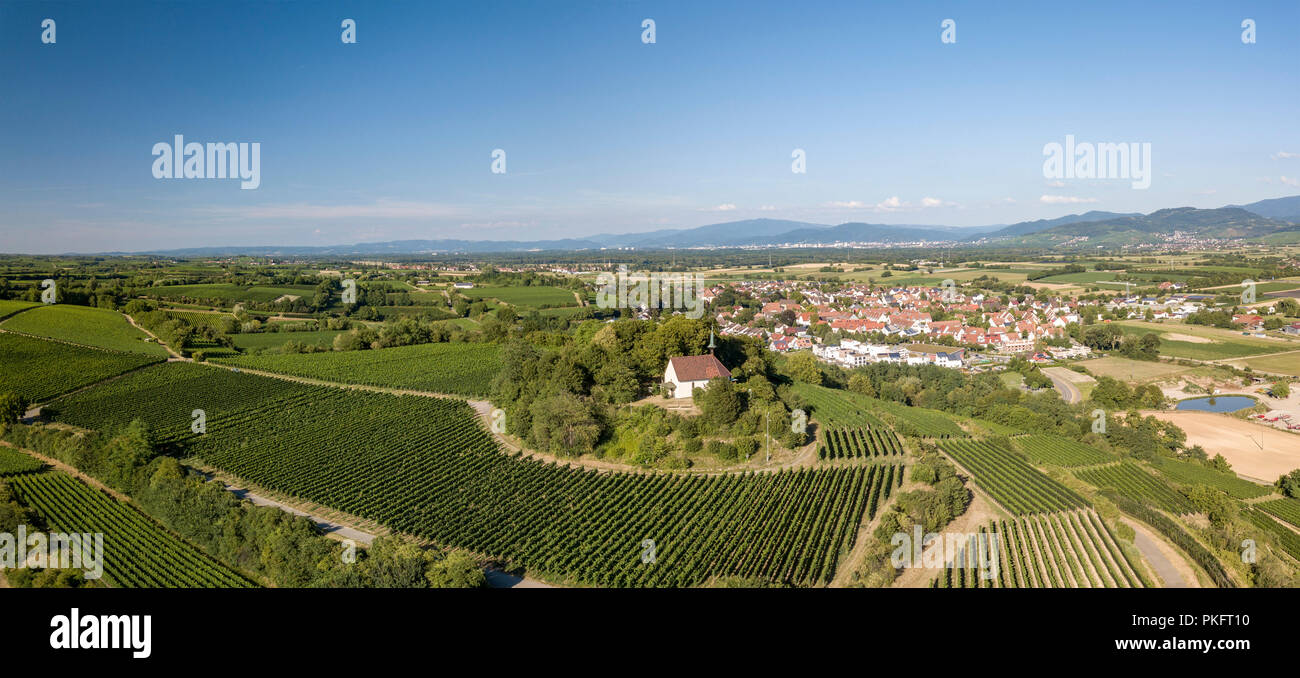 Panorama, Erentrudis chapel on the Tuniberg, Munzingen, Freiburg im Breisgau, Baden-Württemberg, Germany Stock Photo