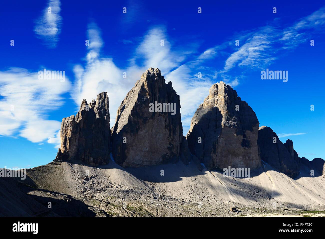 North walls of the Three Peaks of Lavaredo, Sesto Dolomites, Alta Pusteria, South Tyrol, Italy Stock Photo