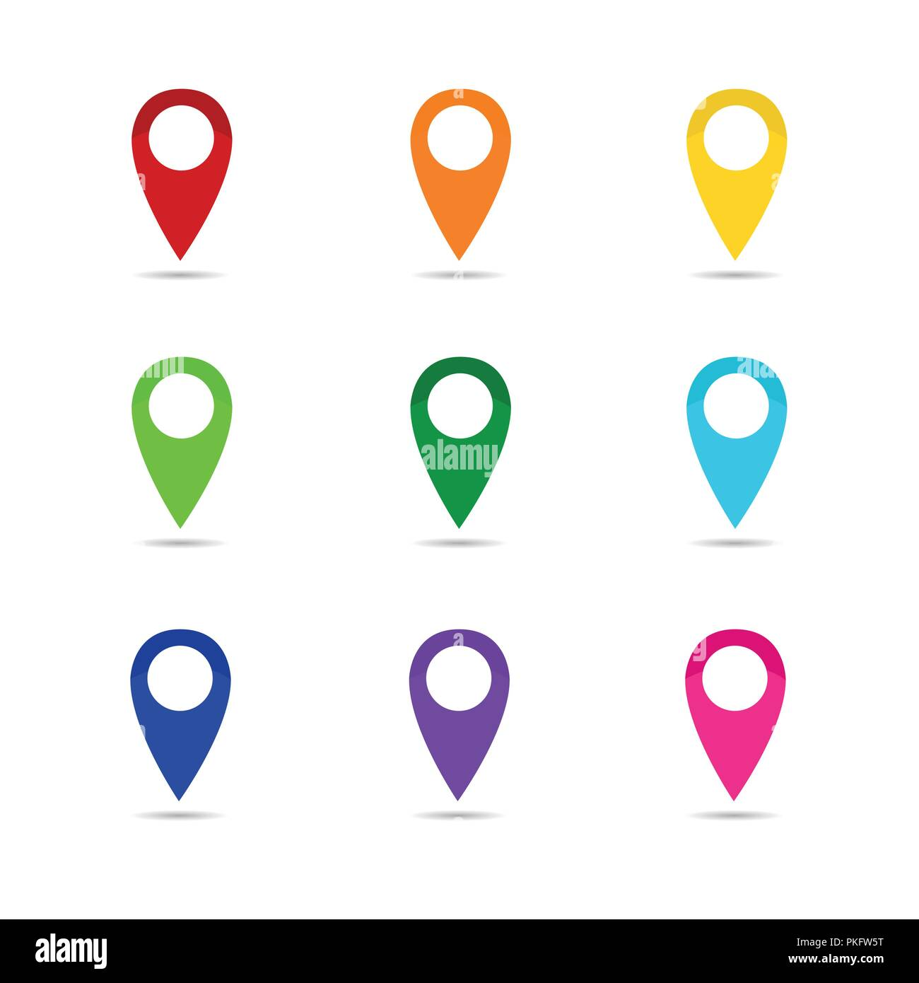 set colorful map pointer location pin icon marker flag symbol vector illustration EPS10 - Stock Vector