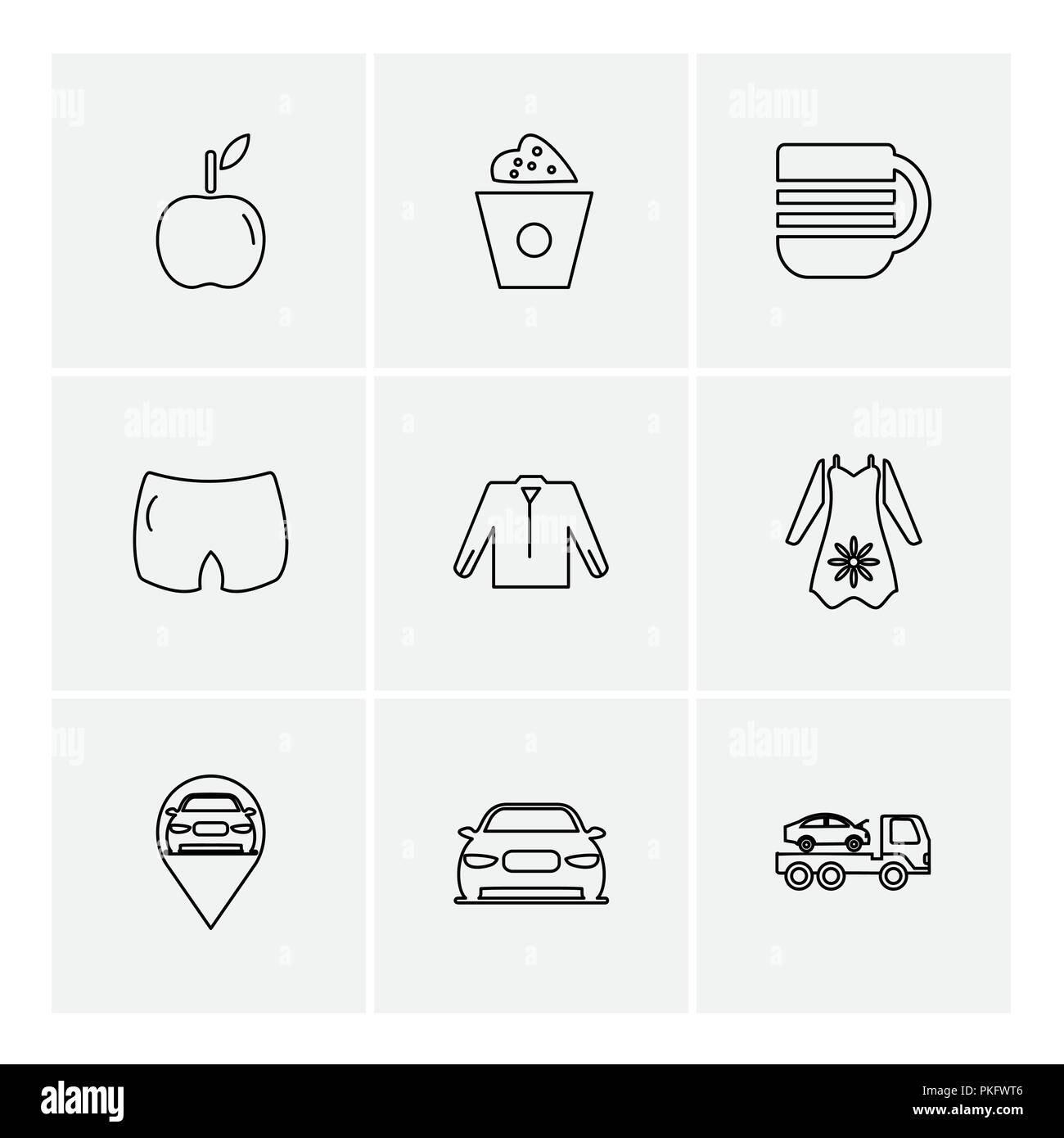 garments ,cloths , wear , dress , pants , jeans , boxer , shirts , tshirts,  top , skirts ,tags , discount  ,icon, vector, design,  flat,  collection, - Stock Image