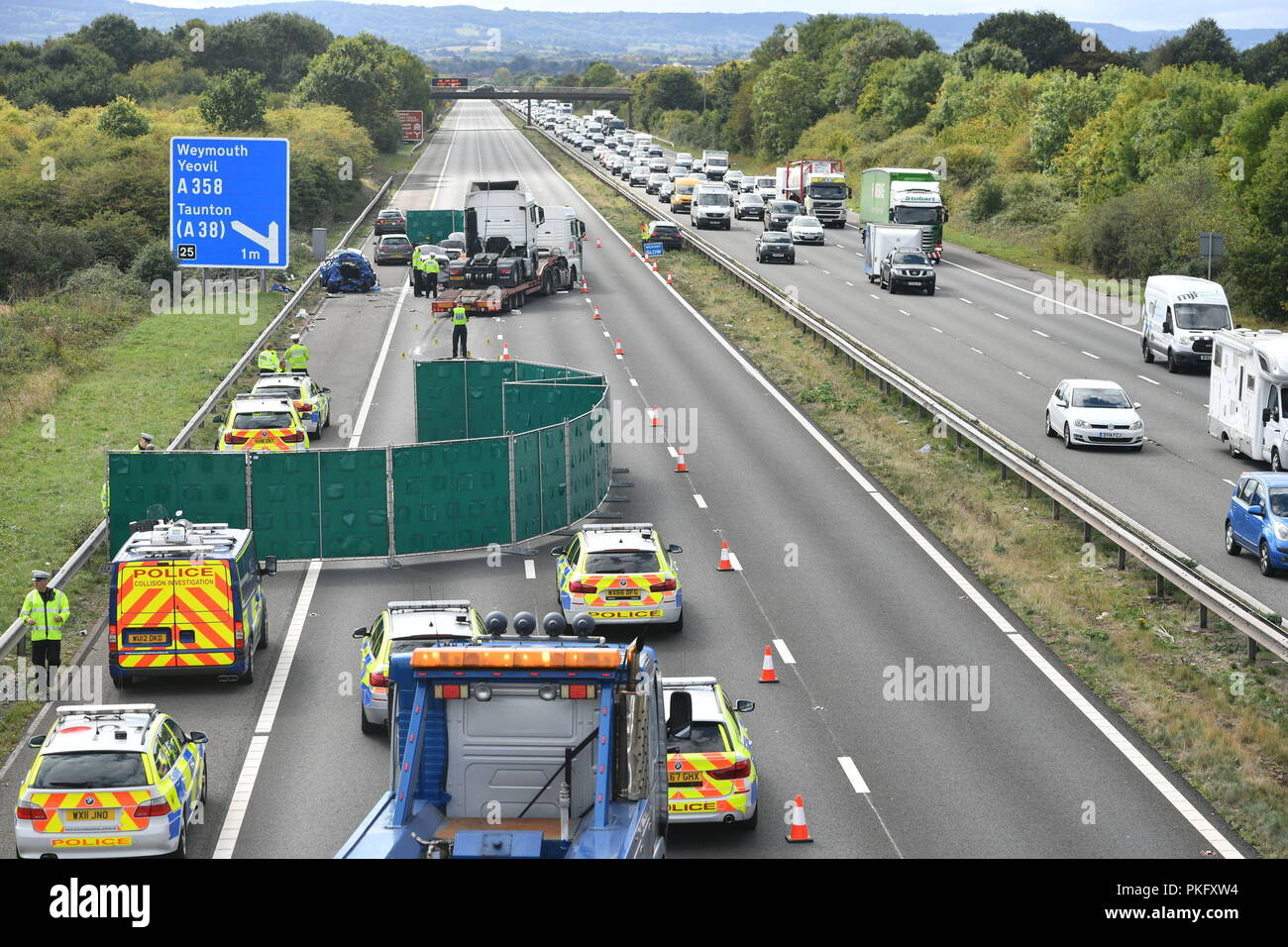 Emergency services at the scene of an accident on the M5