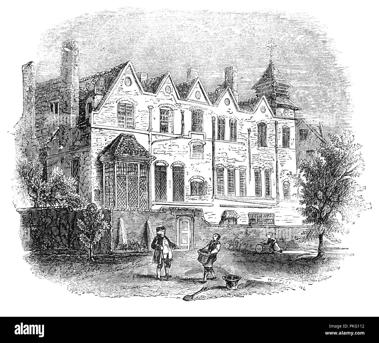 The old manor house around in the mid-17th century, when Marylebone was a village separated from London by fields and market gardens. It was converted into a hunting lodge by Henry VIII and was later used as a boarding school, eventually being demolished in 1791. - Stock Image