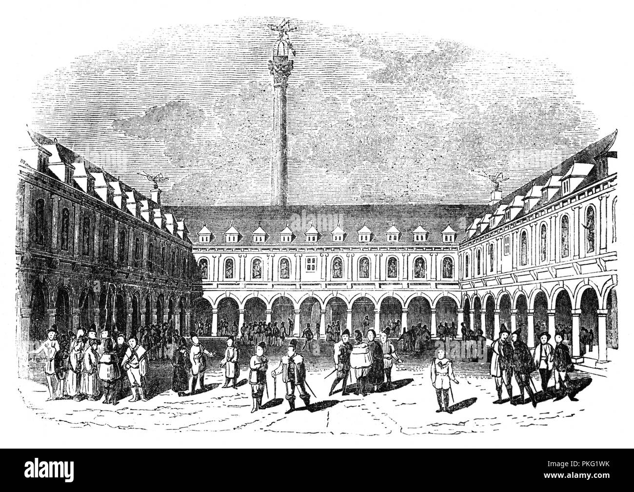 The courtyard of Sir Thomas Gresham's Exchange in London, England. Sir Thomas Gresham the Elder (1519–1579) was an English merchant and financier who acted on behalf of King Edward VI (1547–1553 and Elizabeth I (1558–1603). In 1565 Gresham made a proposal to the City's Court of Aldermen to build a bourse or exchange – what became the Royal Exchange,  – on condition that the Corporation provided a suitable location. - Stock Image