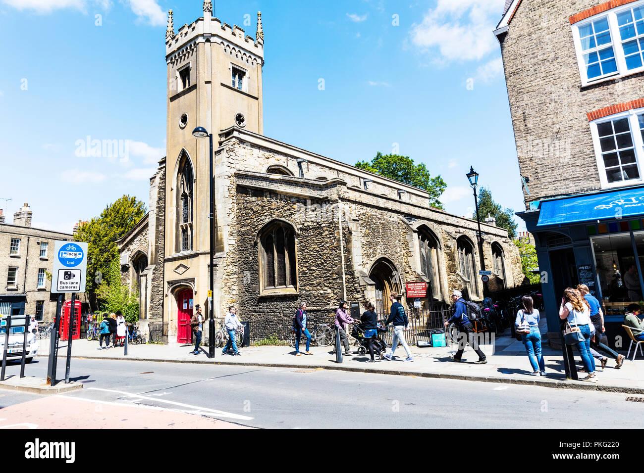 parish church of st clement cambridge, Church of England, St Clement's Church, Cambridge, churches, UK, front, facade, building, exterior, street view - Stock Image