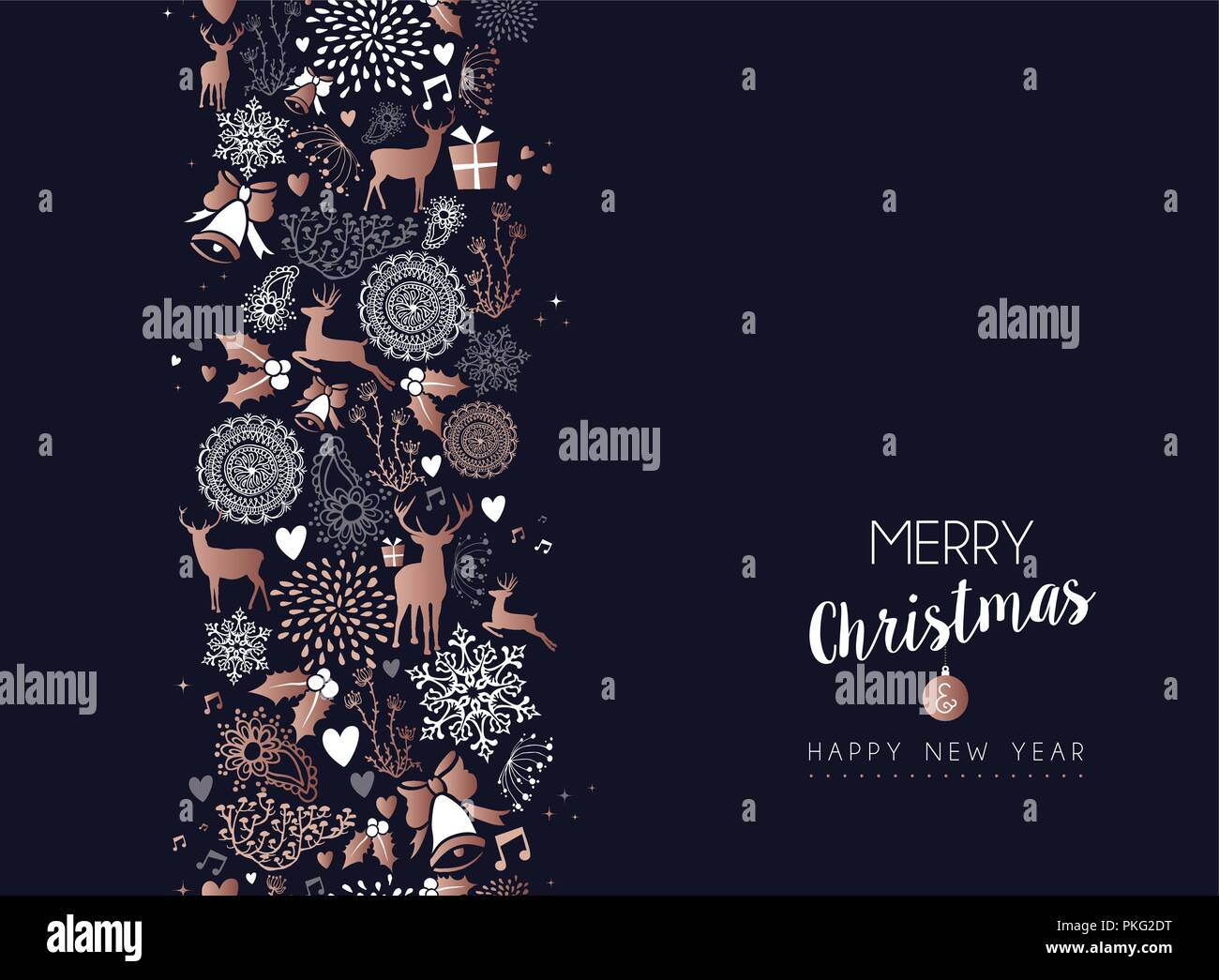 merry christmas happy new year copper pattern decoration with deer nature and holiday ornaments eps10 vector