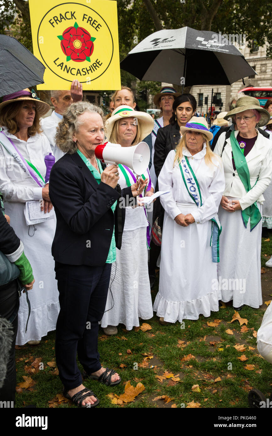 London, UK. 12th September, 2018. Green Party peer Jenny Jones addresses women from across the UK and their supporters at a 100Women rally in Parliament Square to honour the Suffragettes and to draw attention to the lack of democracy in overturning local votes against fracking. The event was organised to coincide with a debate on fracking in Westminster Hall. Credit: Mark Kerrison/Alamy Live News - Stock Image
