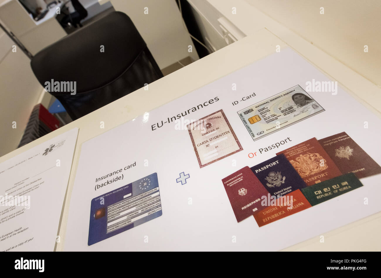 Munich, Bavaria. 13th Sep, 2018. In the reception area of the Wiesn medical station on the Oktoberfest grounds there is a sign with various identity cards and insurance cards. This year's Oktoberfest lasts from 22.09. to 07.10.2018. Credit: Peter Kneffel/dpa/Alamy Live News - Stock Image