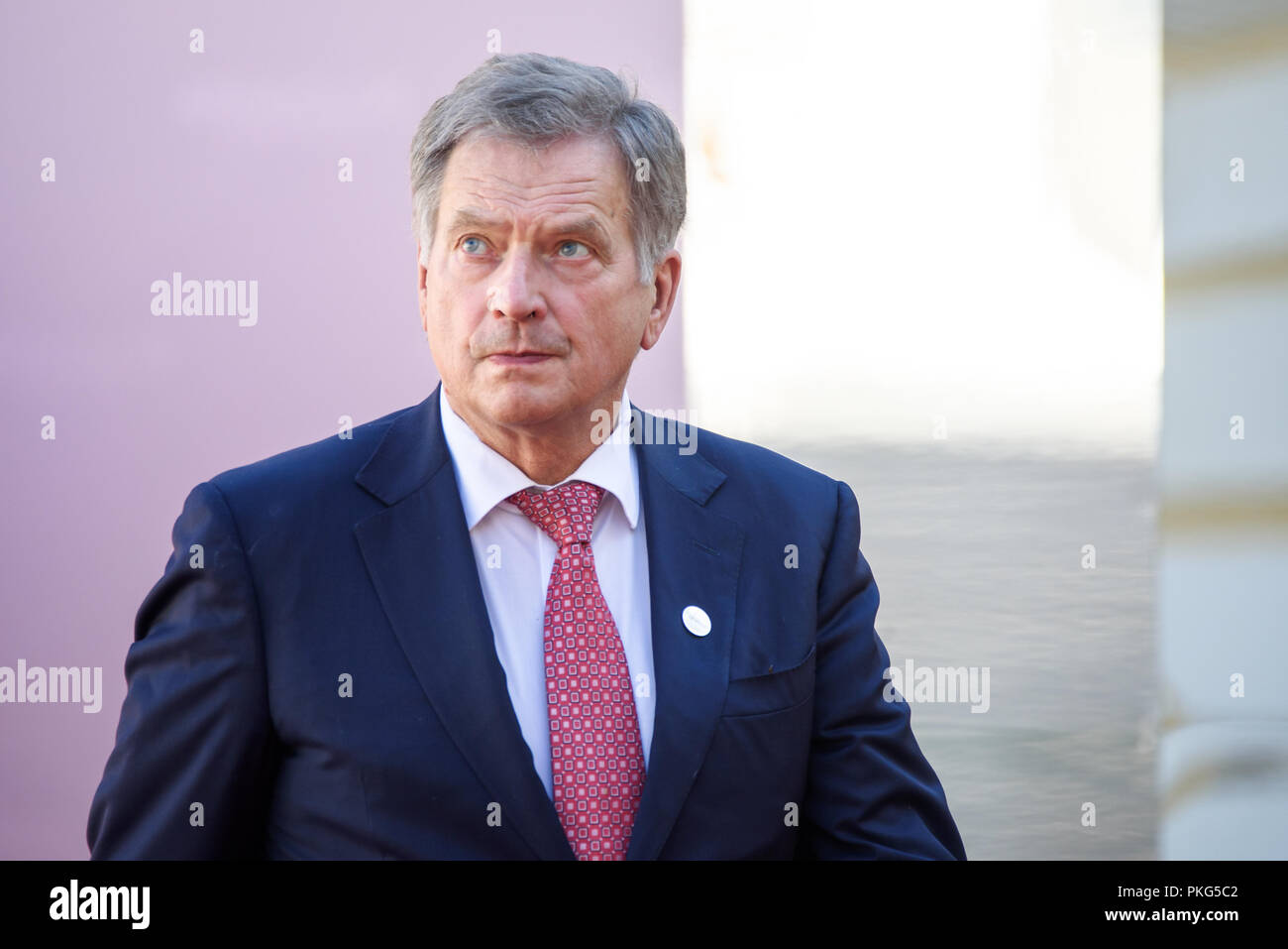 13.09.2018. RUNDALE, LATVIA. Sauli Niinistö, President of Finland, during Official arrival ceremony of the 14th Informal Meeting of the Arraiolos Group in Rundale palace, Latvia. - Stock Image