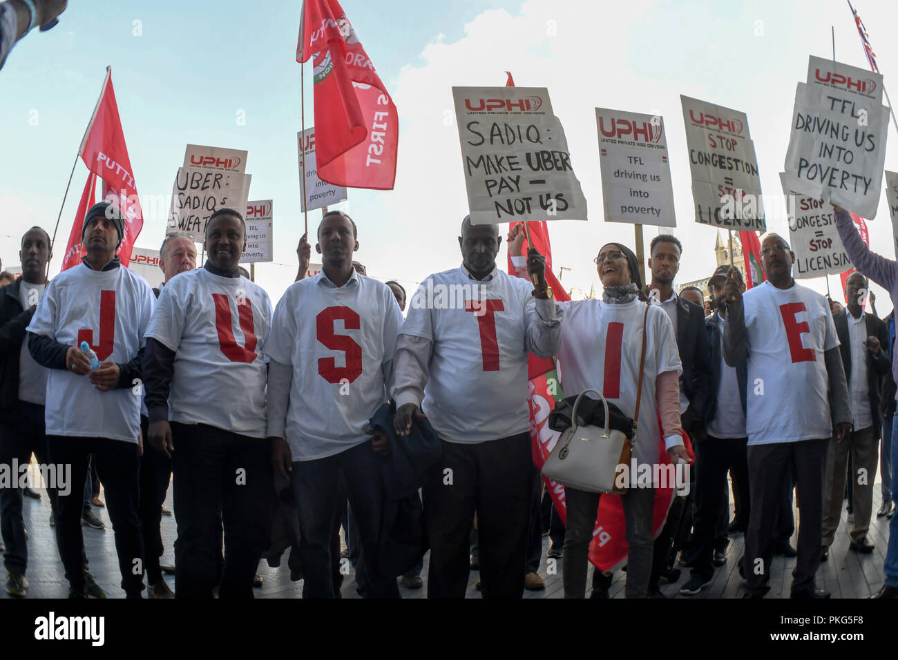 City Hall, London, UK. 13th Sep 2018. The United Private Hire Drivers and IWGB - Independent Workers Union of Great Britain demonstration Say NO to Mayor of London and TfL plan to make minicab drivers pay £11.50 per day in congestion charging at City Hall on 13 September 2018, London, UK. Credit: Picture Capital/Alamy Live News - Stock Image