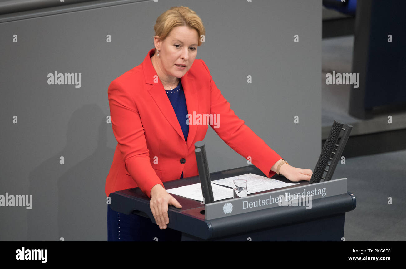 13 September 2018, Berlin: 13.09.2018, Berlin: Franziska Giffey (SPD), Federal Minister for Family Affairs, speaks at the plenary session in the German Bundestag. The main topic of the 49th session of the 19th legislative period is the Federal Government's draft budget 2019 and the federal budget 2018 to 2022. Photo: Ralf Hirschberger/dpa - Stock Image