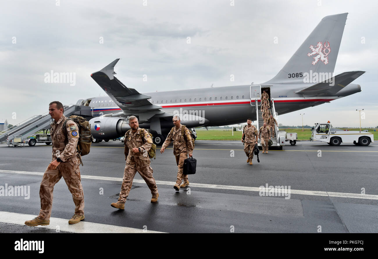 Arrival of military plane with soldiers returning from foreign mission in Mali in Prague - Kbely airport, Czech Republic, September 13, 2018. (CTK Photo/Vit Simanek) Stock Photo
