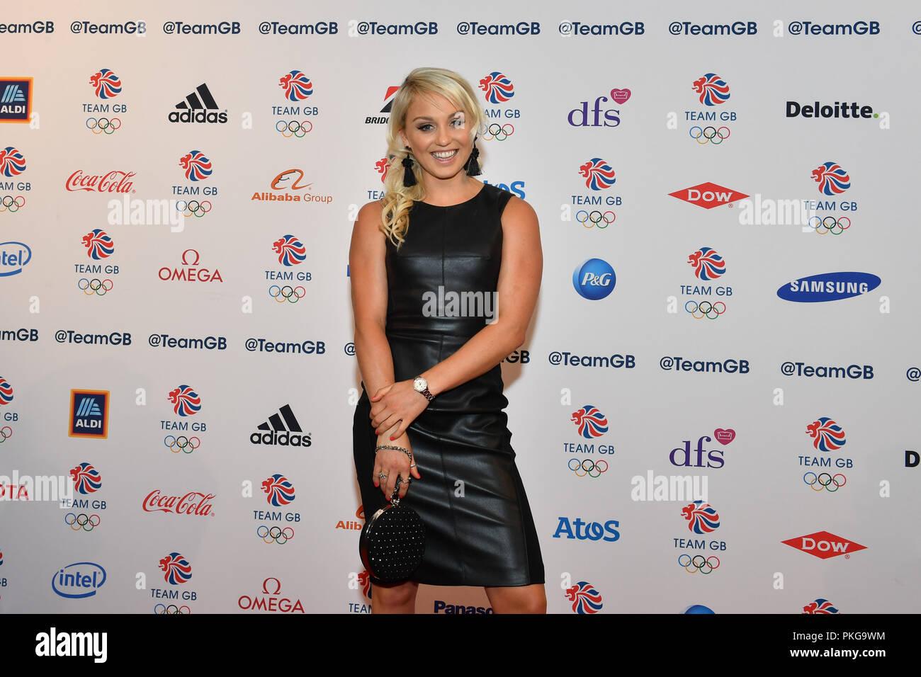 London, UK. 13th September 2018. Aimee Fuller arrives at the Team GB Ball 2018 - Red Carpet Arrivals on Thursday, September 13, 2018, LONDON ENGLAND. Credit: Taka Wu/Alamy Live News - Stock Image