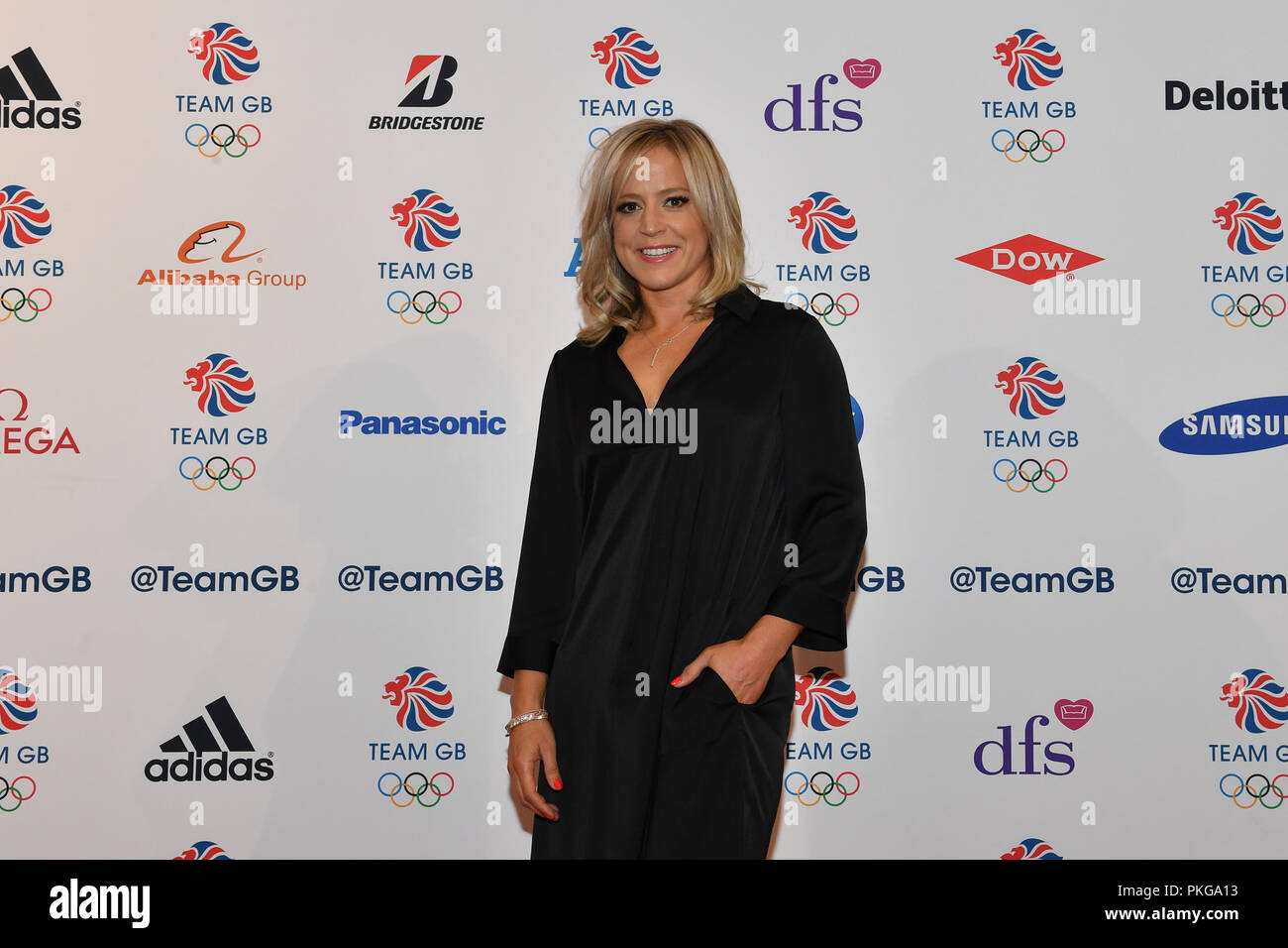 London, UK. 13th September 2018. Jenny Jones arrives for the Team GB Ball 2018 - Red Carpet Arrivals on Thursday, September 13, 2018, at the Royal Horticultural Halls, LONDON ENGLAND. Credit: Taka Wu/Alamy Live News - Stock Image