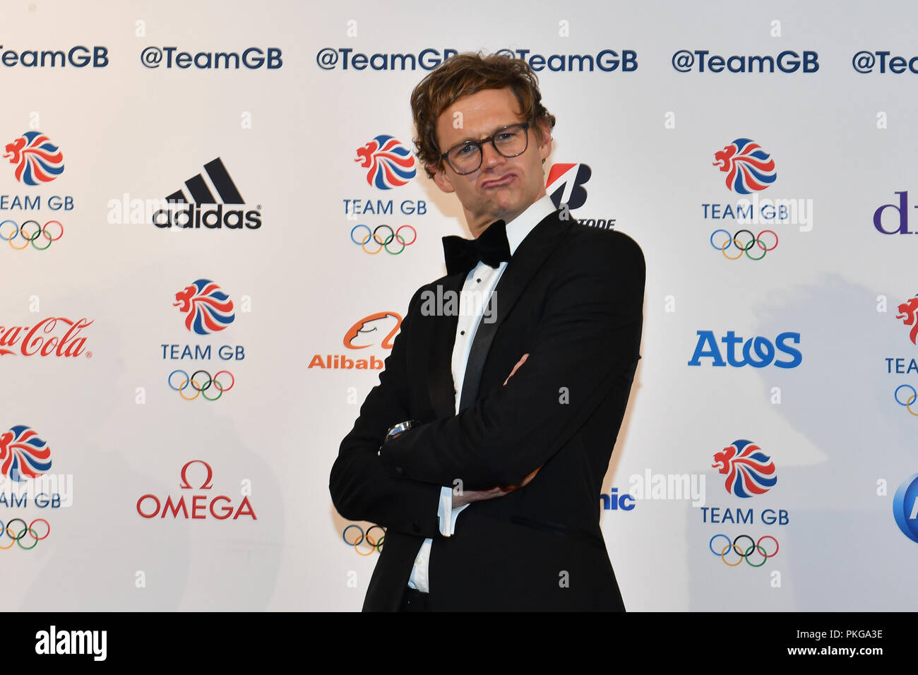 London, UK. 13th September 2018. Event Host, Mark Dolan arrives for the Team GB Ball 2018 on Thursday, September 13, 2018, at the Royal Horticultural Halls, LONDON ENGLAND. Credit: Taka Wu/Alamy Live News - Stock Image