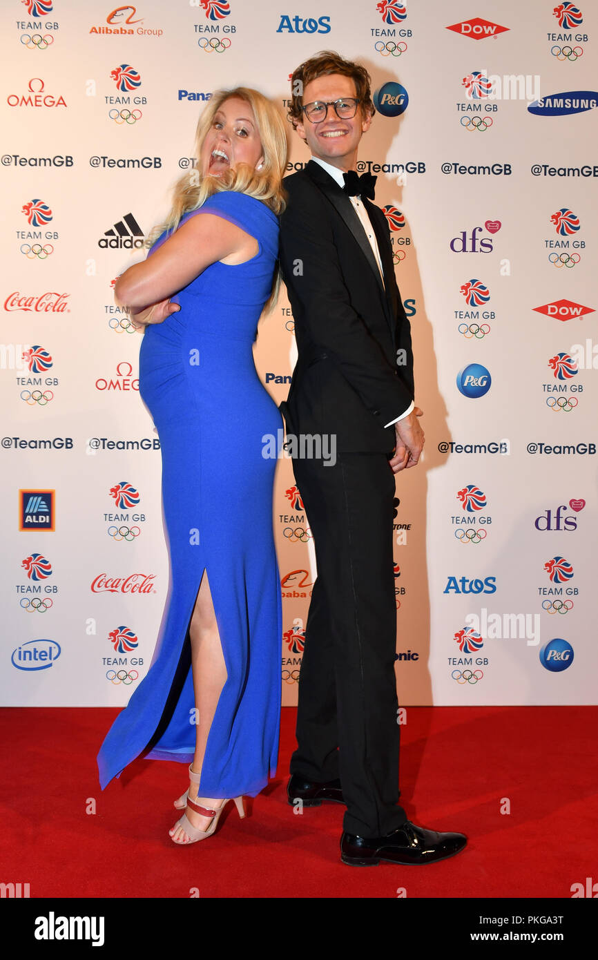 London, UK. 13th September 2018. Hosts of the event Chemmy Alcott and Mark Dolan attends the Team GB Ball 2018 on Thursday, September 13, 2018, at the Royal Horticultural Halls, LONDON ENGLAND. Credit: Taka Wu/Alamy Live News - Stock Image
