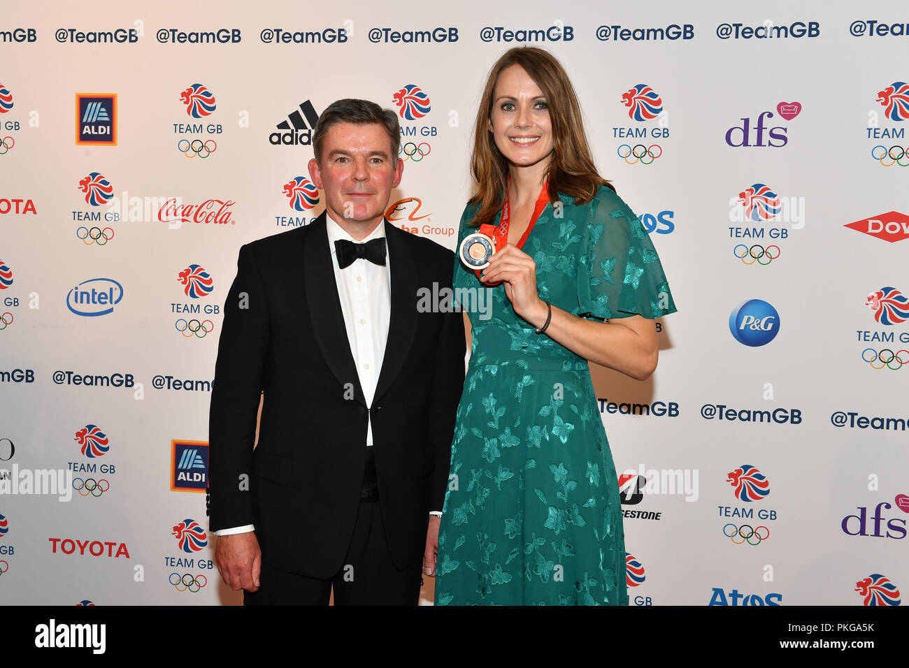London, UK. 13th September 2018. Kelly Sotherton after being presented with her belated 2008 Beijing Heptathlon bronze medal by British Olympic Association chairman Sir Hugh Robertson, during the Team GB Ball 2018 at the Royal Horticultural Halls on Thursday, September 13, 2018, LONDON ENGLAND. Credit: Taka Wu/Alamy Live News - Stock Image