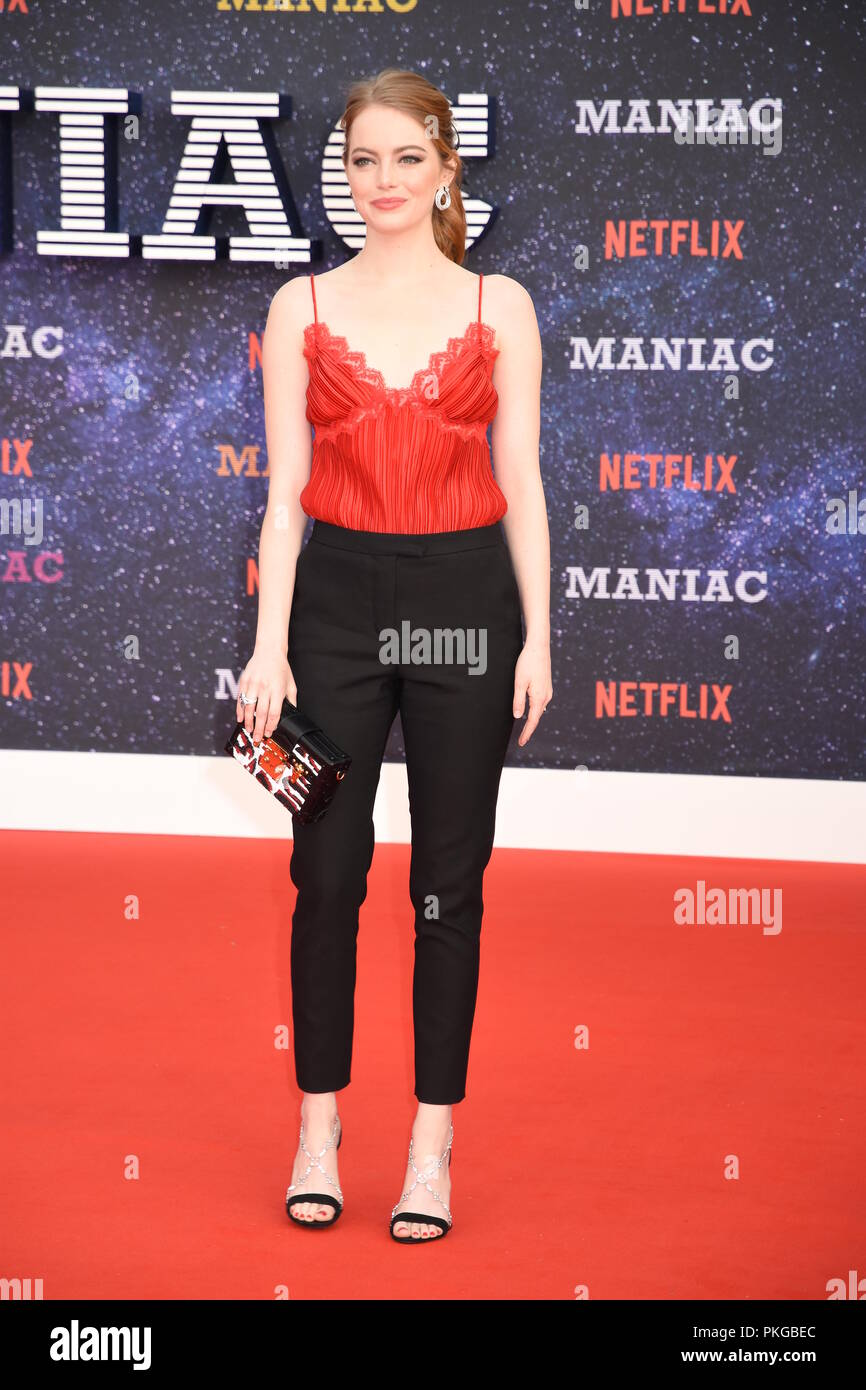 London, UK. 13th Sep 2018. Emma Stone,'Maniac'-World Premiere,Queen Elizabeth Hall,London.UK Credit: michael melia/Alamy Live News - Stock Image