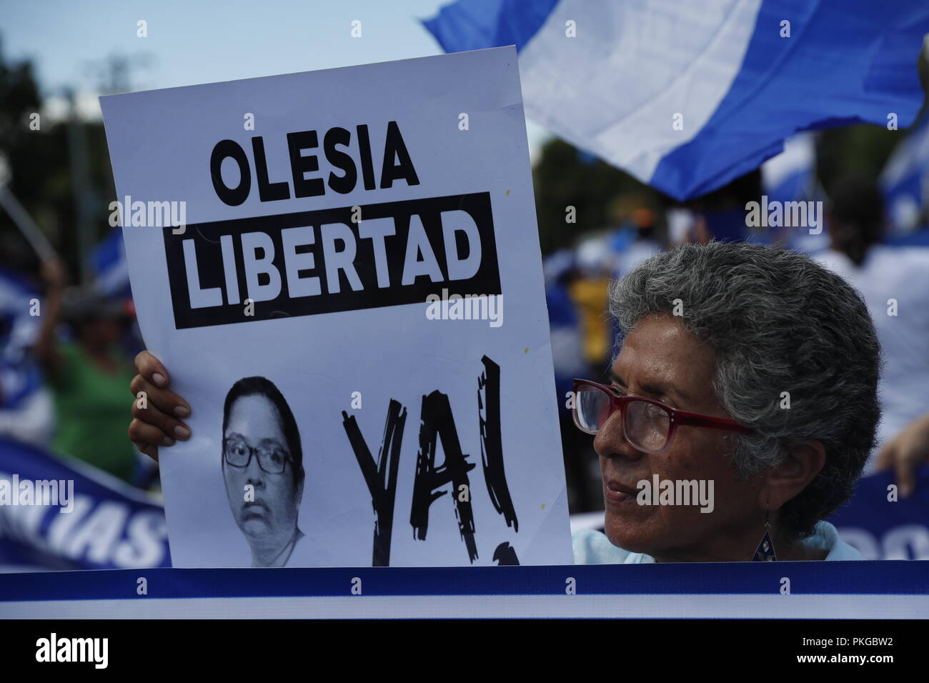 Managua, Nicaragua. 09th Sep, 2018. Opposition protestors participate in the March of the Hats to demand the freedom of political prisoners, in Managua, Nicaragua, 13 September 2018. Credit: Jorge Torres/EFE/Alamy Live News Stock Photo