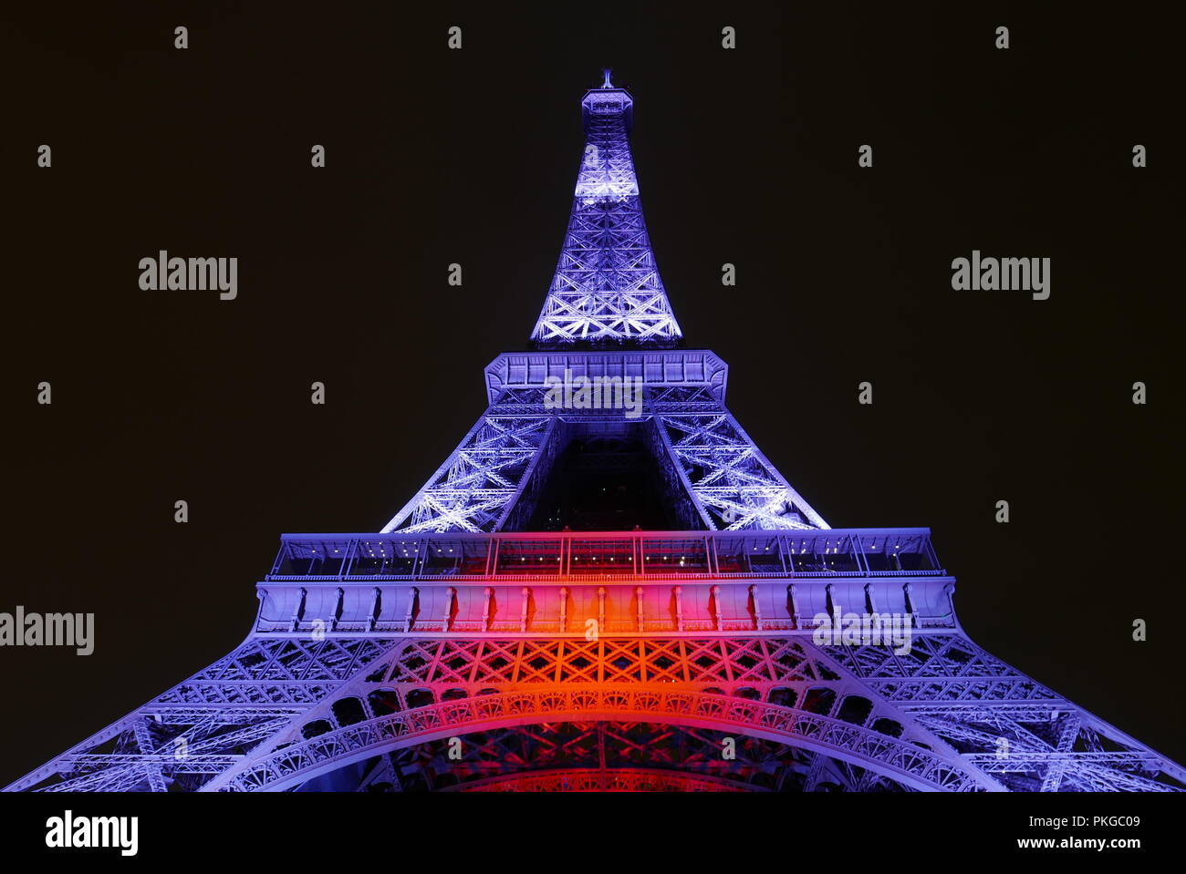 Paris, France. 13th Sep 2018. The Eiffel Tower illuminated by Japanese light at the Japonismes 2018. A light and sound show by the 2 Japanese artistes Motoko Ishii and Akori-Lisa Ishii.13.09.2018.Paris, France. Credit: Michael Scheja/Alamy Live News - Stock Image